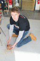 Kelgin Cheh testing his mousetrap car