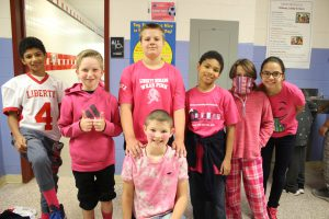 Picture of students wearing pink for Miles of Hope