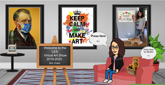 An illustration of a woman on a couch and three pieces of elementary art on the wall behind her.